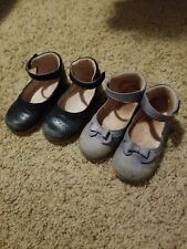 Girls Jacadi Shoes Euro 24 2 pairs navy blue and baby blue bow US 7-8