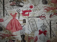 Vintage Paris Sewing Mannequin Blush Sewing Items Cotton Fabric Fq