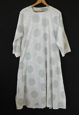 Vtg Lounge Dress/Cover Up Mid-calf 3/4 Sleeve Embroidery A-Line White Size L