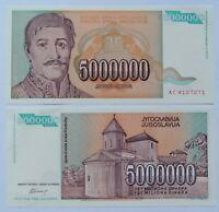 YUGOSLAVIA 5000000 dinara 1993, P-132a. Plancha UNC.