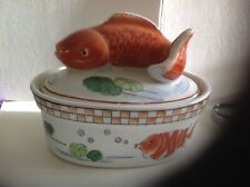 Goldfish,Carp Lidded Stew Pot, Porcelain,Ceramic,Handpainted