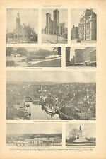 Providence, Rhode Island, City Hall, Court House, Vintage, 1895 Antique Print,