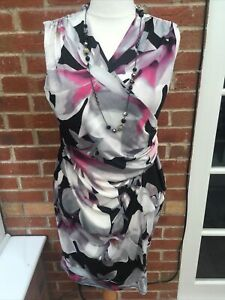 Ladies Unbranded Size 18 Black White Pink Shift Dress Evening Wedding Party S9
