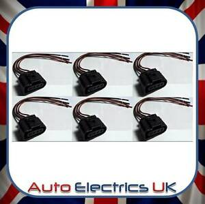 SET OF 6 AUDI VW SKODA SEAT FORD IGNITION COIL CONNECTOR PLUG PACK WIRING LOOM