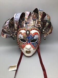 "12"" Venetian Carnival Jester Wall Mask, Vintage Maschera del Galeone, Italy Tag"