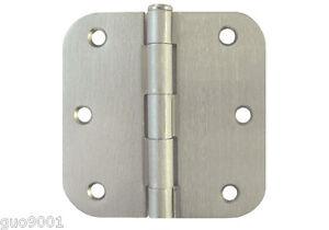 "Satin Nickel 3.5"" Inch 5/8"" Radius Round Interior Door Hinges Brushed Nickel"