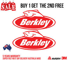2 X BERKLEY CATCH MORE FISH DECAL STICKER FOR BOATS, CARS, LATOP, & MORE