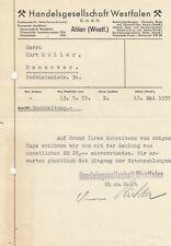 AHLEN, Brief 1935, Handelsgesellschaft Westfalen GmbH