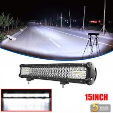 Quad Row 15INCH 1120W CREE LED LIGHT BAR SPOT FLOOD COMBO OFFROAD DRIVING TRUCK