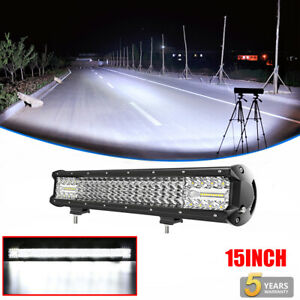 Quad Row 15INCH 1120W CREE LED LIGHT BAR SPOT FLOOD COMBO OFFROAD DRIVING TRUCK