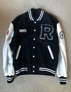 Vintage Roots Canada Size XL Black Wool Leather Bomber Letterman Varsity Jacket