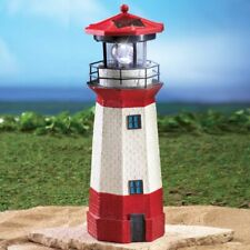 Solar Powered Lighted Nautical White & Red Lighthouse Outdoor Garden Statue