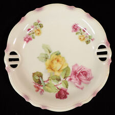 Selesia round open handle plate rose pattern embossed scalloped trim