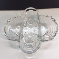 Vintage Cambridge Caprice Divided Relish Tray Clover Clear Glass