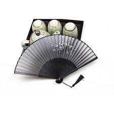 Black Folding Hand Held Dance Fan Home Decor Silk Bamboo Wintersweet Pocket Fan