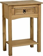 Seconique Corona Waxed Mexican Pine Telephone Table with Drawer and Shelf