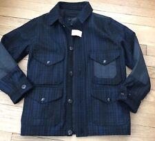 Gap Kids Boys Blue Black Plaid Wool/Polyester Coat Jacket NWT