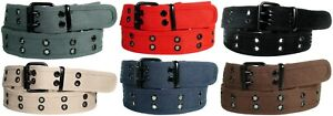 Men's Canvas Belt Double Grommet Studded Hole 100% Cotton Durable and Strong Hem