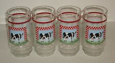 Older Cow in Checked Frame 16oz. Glass Beverage Tumblers set of 4