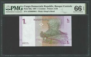 Congo Democratic One Centime 1997 P80a Uncirculated Graded 66