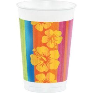 Hawaiian Luau Party Sunset Stripes 16 oz Plastic Cup 8 Pack