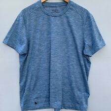 Untuckit Large Short Sleeve Men's Dry Fit Workout Shirt Heathered Blue Crewneck