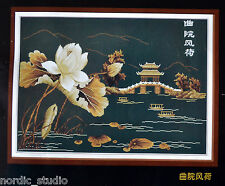 "ORIENTAL LOTUS PAGODA - Needlepoint Cross-Stitch Kit, 48"" x 30"" by Gong Ting"
