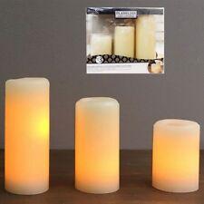 Led Candle - Flameless Ivory Pillar LED Candles -Set of 3 Assorted Sizes