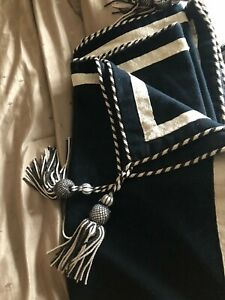 BLACK/CREAM ROPED TASSELLED CORNERS VINTAGE OPULENT THROW 46INCHES X 46INCHES