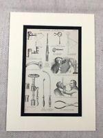 1880 Antico Stampa Vittoriano Chirurgico Apparato Strumenti Forcipe Tubo