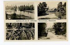 Kitch-Iti-Ki-Pi Springs RPPC Manistique MI Antique Multiview Photo~1920s