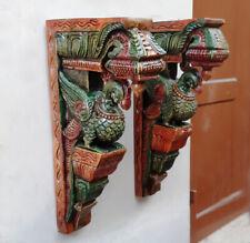 Wandhängende Pfanne Pfau geformte Corbel Pair Hölzerne Statue Home Decor Selten