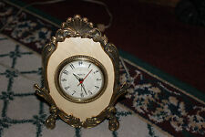 Vintage Stylebuilt Art Deco Alarm Clock-Gilded Gold Metal-Lovely Table Clock