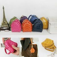 Leather Mini Backpack Coin Purse Car Key Chain Holder Ring Bag Charm Accessory