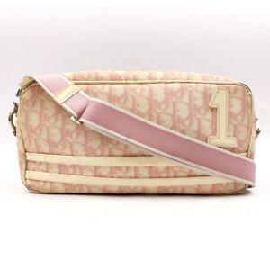 Christian Dior Shoulder Bag Nylon Logo Pink