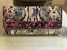 Designer Inspired Women's Gorgeous Faux Leather Snake Print Wallet Pink Fuchsia