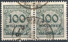 "Korbdeckel MiNr. 322AP im Paar mit Plattenfehler ""HT"" gestempelt"
