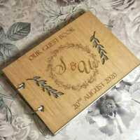 Personalised Engraved Oakwood Guestbook for Engagement / Reception / Wedding