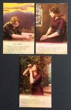"""Song Card postcard set - """"The Rosary"""" - Bamforth Set of 3 - No 4803"""
