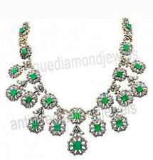 Victorian Look 925 Silver Necklace 13.25ct Rose Cut Diamond Emerald Antique