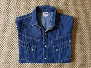 The Real McCoy's Joe McCoy Lot 105 Denim Western Shirt tag 16 Made in Japan