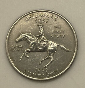 "RARE 1787 1999 ""D"" Delaware *FIRST STATE QUARTER DOLLAR* Coin W/ Caesar Rodney"