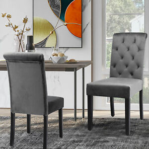 Set of 2 Velvet Dining Chairs with High Back Chairs for Kitchen Living Room Grey