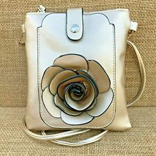 Gold Rose Small Bag with Smart Phone Spectacle Holder Long Cross Body Strap