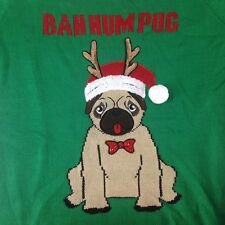 NWT United States Sweaters Ugly Christmas Bah Hum Pug Bow Tie Dog Size XL