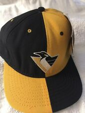Vintage PITTSBURGH PENGUINS Blockhead Two Tone American Needle Hat+tags USA Made