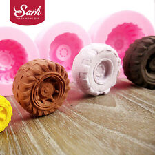 4pcs/set Tires Wheel Cartoon Fondant Cake Molds Bow Chocolate Mould