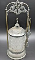Antique Pickle Castor Silver plate with Pattern Glass - Tongs
