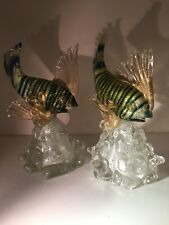 AVEM Murano Glass Hand Blown Figures Of Fish With Orginal AVEM Labels