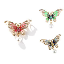 Fashion Women Butterfly Pins Rhinestone Enamel Pearl Insect Brooches Pin JewATA